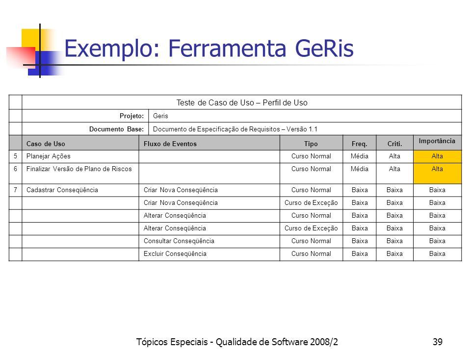 Tópicos Especiais - Qualidade de Software 2008/239 Exemplo: Ferramenta GeRis Teste de Caso de Uso – Perfil de Uso Projeto:Geris Documento Base:Documen