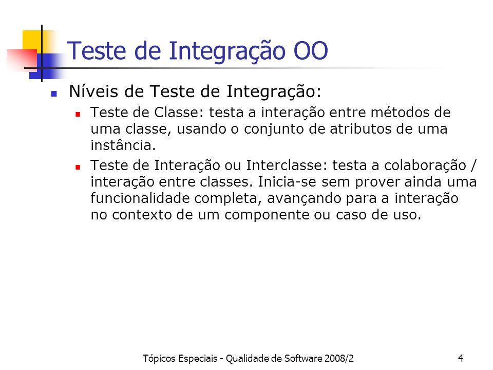 Tópicos Especiais - Qualidade de Software 2008/25 Teste de Integração OO Teste de Componente: Quando um componente é implementado usado a tecnologia de objetos, ele pode ser visto como um conjunto de classes que provê uma porção significativa de funcionalidade, acessível por meio de um conjunto de interfaces especificando os comportamentos disponíveis.