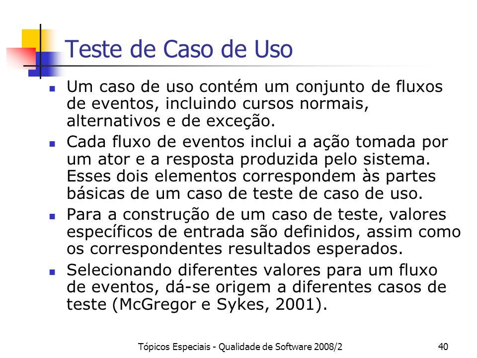 Tópicos Especiais - Qualidade de Software 2008/240 Teste de Caso de Uso Um caso de uso contém um conjunto de fluxos de eventos, incluindo cursos norma