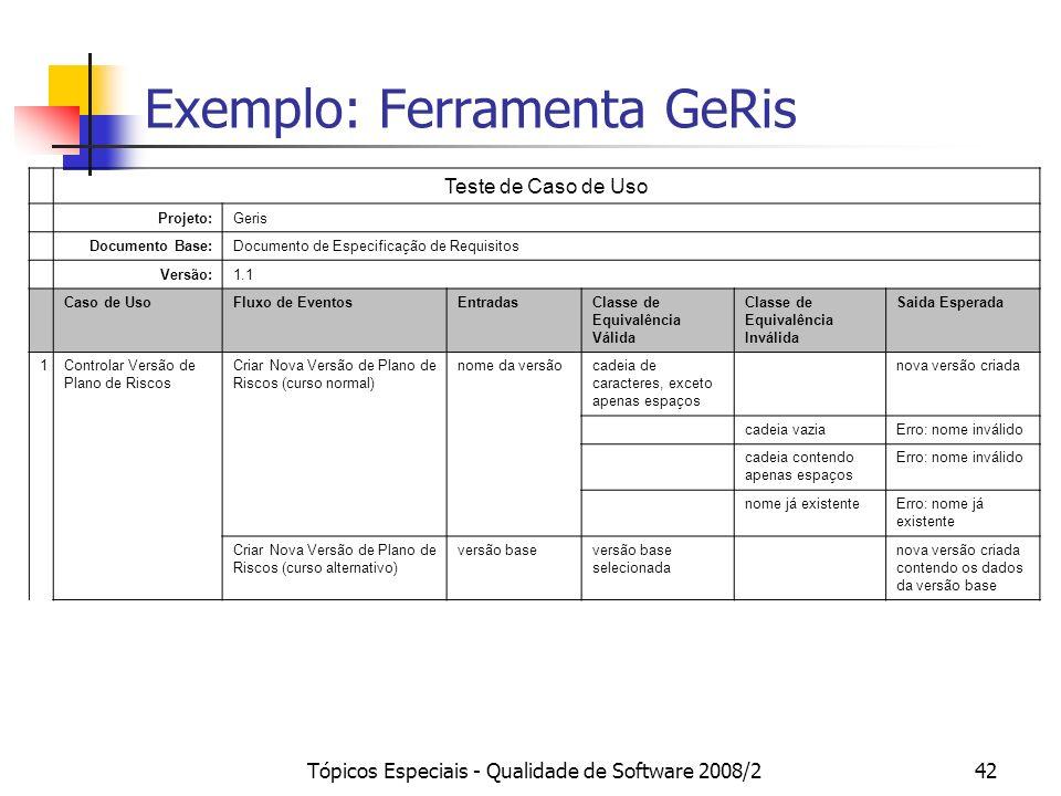 Tópicos Especiais - Qualidade de Software 2008/242 Exemplo: Ferramenta GeRis Teste de Caso de Uso Projeto:Geris Documento Base:Documento de Especifica