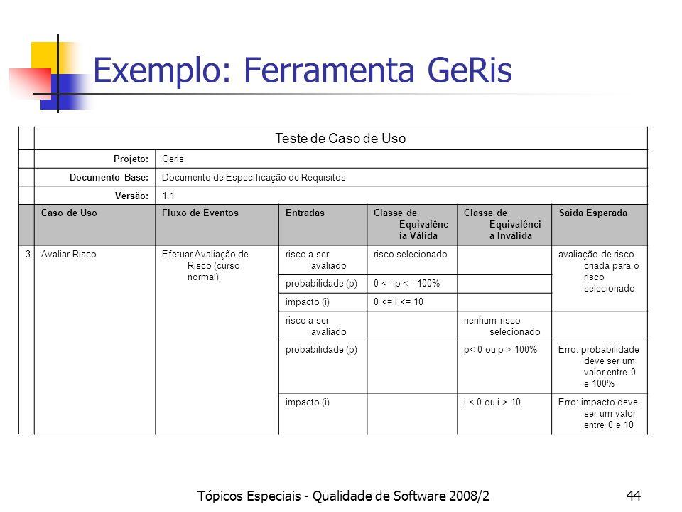 Tópicos Especiais - Qualidade de Software 2008/244 Exemplo: Ferramenta GeRis Teste de Caso de Uso Projeto:Geris Documento Base:Documento de Especifica