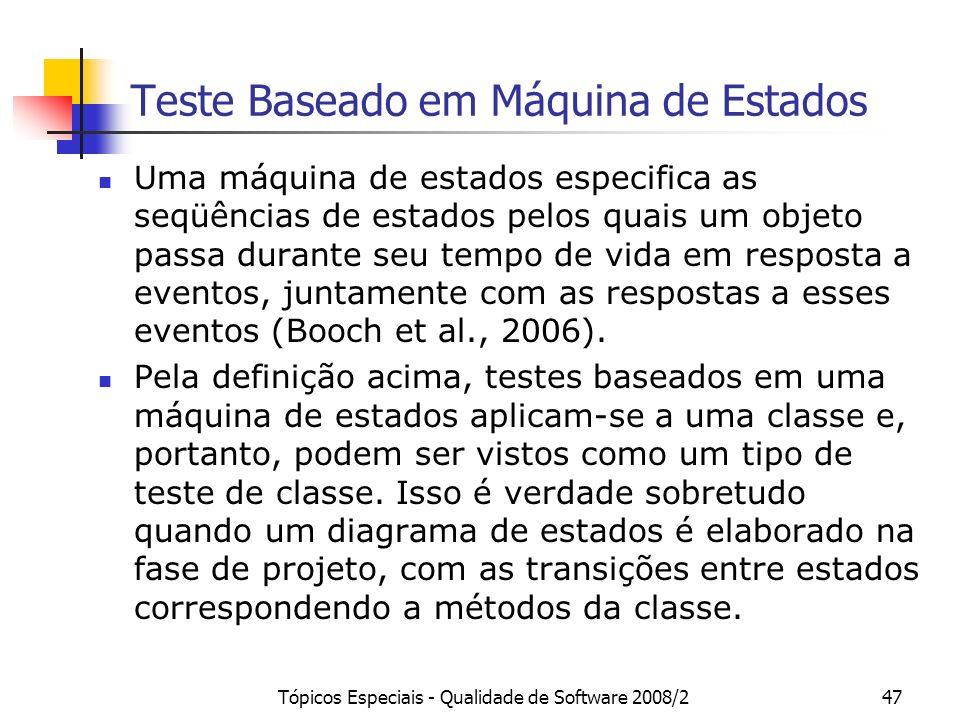 Tópicos Especiais - Qualidade de Software 2008/247 Teste Baseado em Máquina de Estados Uma máquina de estados especifica as seqüências de estados pelo