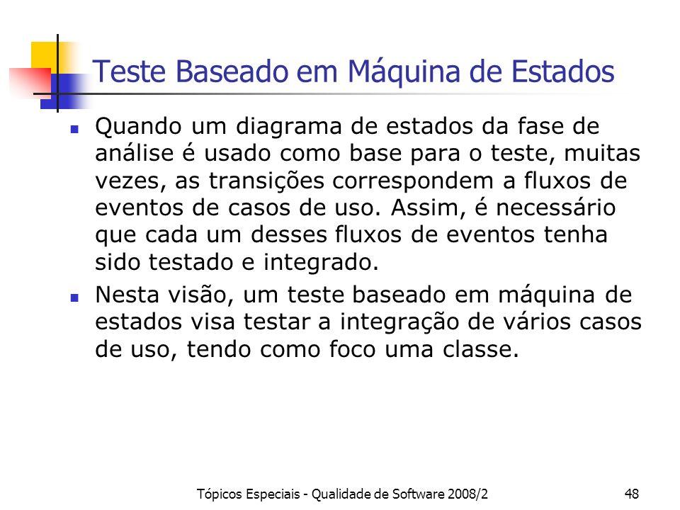 Tópicos Especiais - Qualidade de Software 2008/248 Teste Baseado em Máquina de Estados Quando um diagrama de estados da fase de análise é usado como b