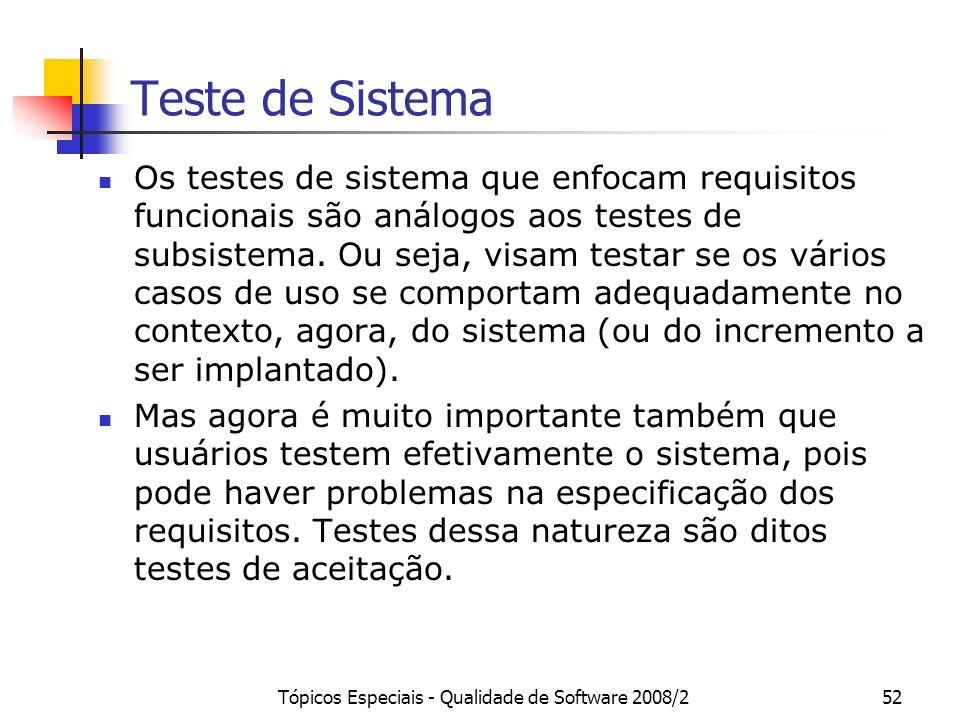 Tópicos Especiais - Qualidade de Software 2008/252 Teste de Sistema Os testes de sistema que enfocam requisitos funcionais são análogos aos testes de