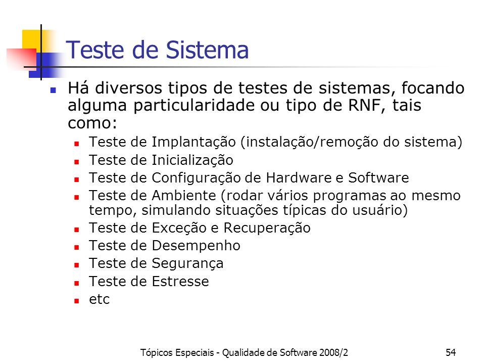 Tópicos Especiais - Qualidade de Software 2008/254 Teste de Sistema Há diversos tipos de testes de sistemas, focando alguma particularidade ou tipo de