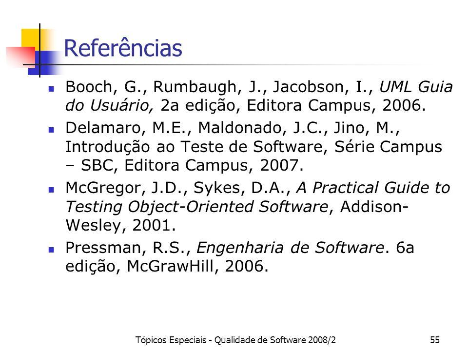 Tópicos Especiais - Qualidade de Software 2008/255 Referências Booch, G., Rumbaugh, J., Jacobson, I., UML Guia do Usuário, 2a edição, Editora Campus,