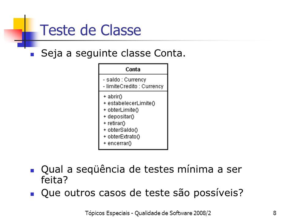 Tópicos Especiais - Qualidade de Software 2008/28 Teste de Classe Seja a seguinte classe Conta. Qual a seqüência de testes mínima a ser feita? Que out