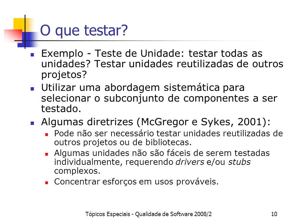 Tópicos Especiais - Qualidade de Software 2008/210 O que testar? Exemplo - Teste de Unidade: testar todas as unidades? Testar unidades reutilizadas de