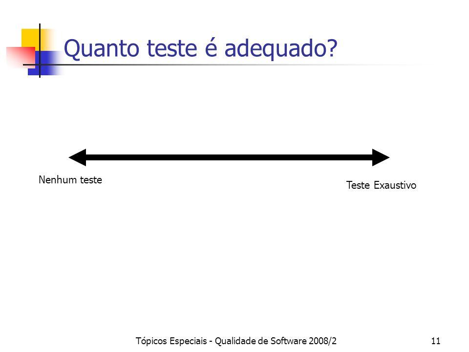 Tópicos Especiais - Qualidade de Software 2008/211 Quanto teste é adequado? Nenhum teste Teste Exaustivo