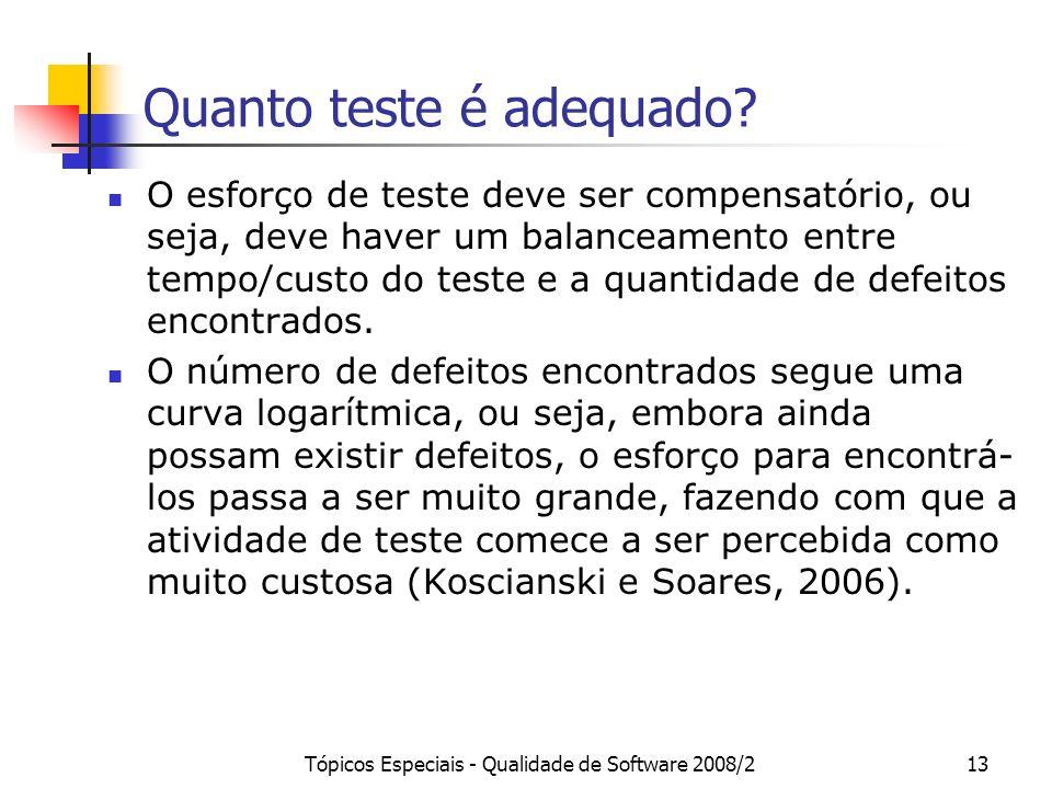 Tópicos Especiais - Qualidade de Software 2008/213 Quanto teste é adequado? O esforço de teste deve ser compensatório, ou seja, deve haver um balancea