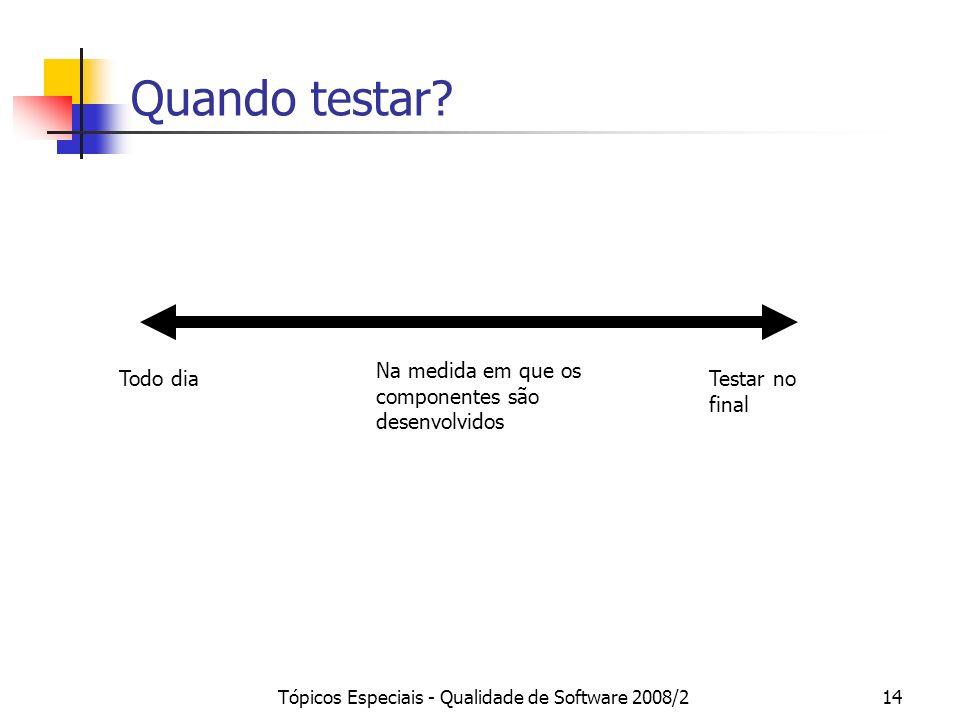 Tópicos Especiais - Qualidade de Software 2008/214 Quando testar? Todo diaTestar no final Na medida em que os componentes são desenvolvidos