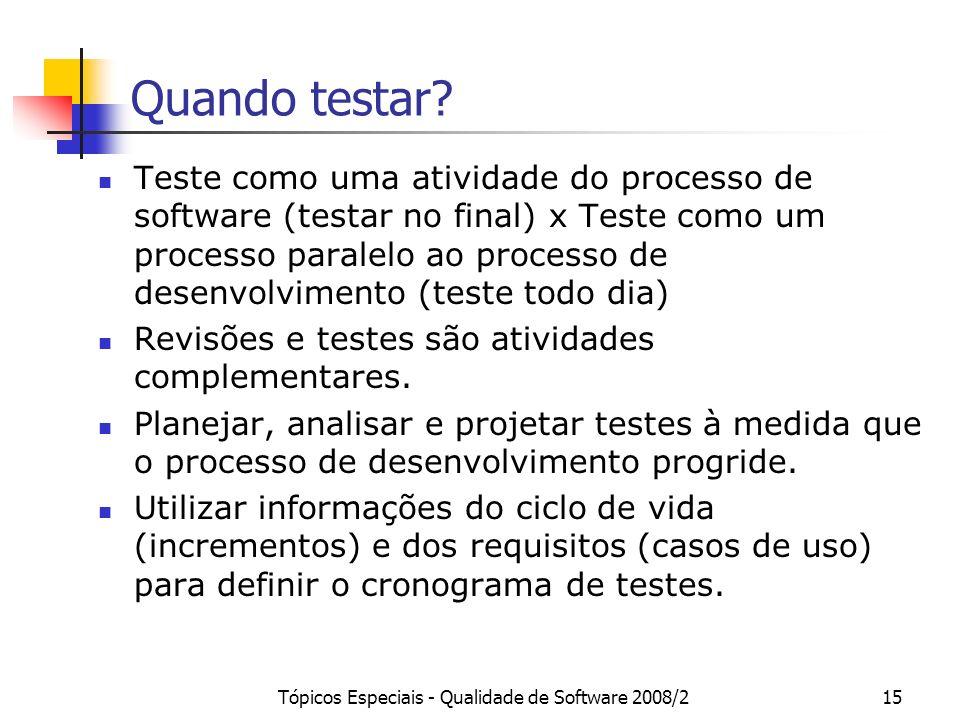 Tópicos Especiais - Qualidade de Software 2008/215 Quando testar? Teste como uma atividade do processo de software (testar no final) x Teste como um p