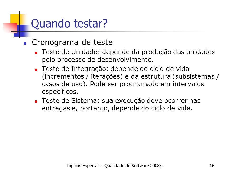Tópicos Especiais - Qualidade de Software 2008/216 Quando testar? Cronograma de teste Teste de Unidade: depende da produção das unidades pelo processo