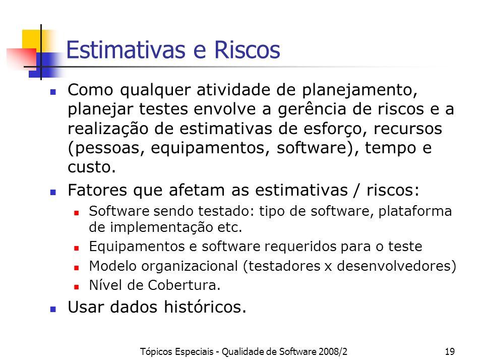 Tópicos Especiais - Qualidade de Software 2008/219 Estimativas e Riscos Como qualquer atividade de planejamento, planejar testes envolve a gerência de
