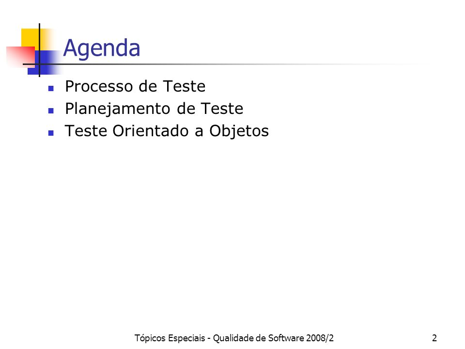 Tópicos Especiais - Qualidade de Software 2008/23 Processo de Teste Independentemente da fase de teste, o processo de teste inclui as seguintes atividades: Planejamento de Teste Análise de Requisitos de Teste (normalmente realizado em conjunto com o Planejamento de Teste) Projeto de Casos de Teste Implementação de Casos de Teste Execução Análise