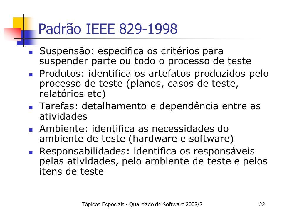 Tópicos Especiais - Qualidade de Software 2008/222 Padrão IEEE 829-1998 Suspensão: especifica os critérios para suspender parte ou todo o processo de
