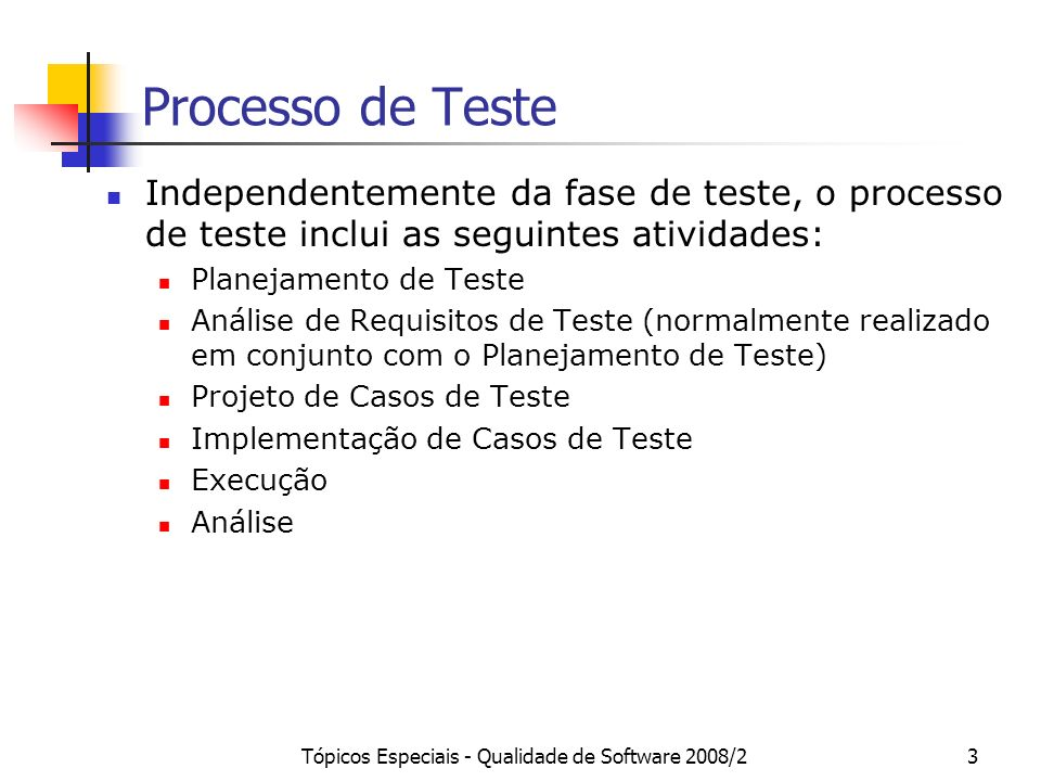 Tópicos Especiais - Qualidade de Software 2008/23 Processo de Teste Independentemente da fase de teste, o processo de teste inclui as seguintes ativid