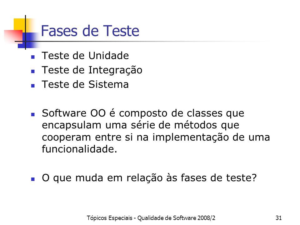 Tópicos Especiais - Qualidade de Software 2008/231 Fases de Teste Teste de Unidade Teste de Integração Teste de Sistema Software OO é composto de clas