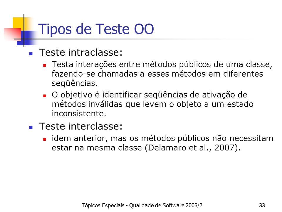Tópicos Especiais - Qualidade de Software 2008/233 Tipos de Teste OO Teste intraclasse: Testa interações entre métodos públicos de uma classe, fazendo