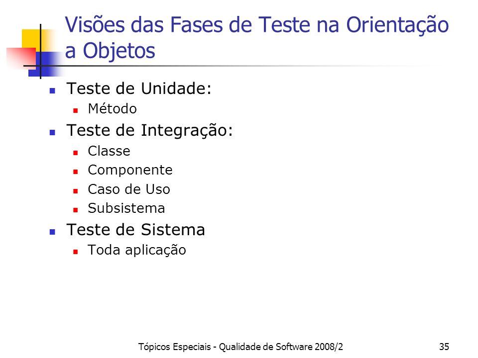 Tópicos Especiais - Qualidade de Software 2008/235 Visões das Fases de Teste na Orientação a Objetos Teste de Unidade: Método Teste de Integração: Cla