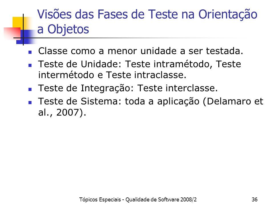 Tópicos Especiais - Qualidade de Software 2008/236 Visões das Fases de Teste na Orientação a Objetos Classe como a menor unidade a ser testada. Teste
