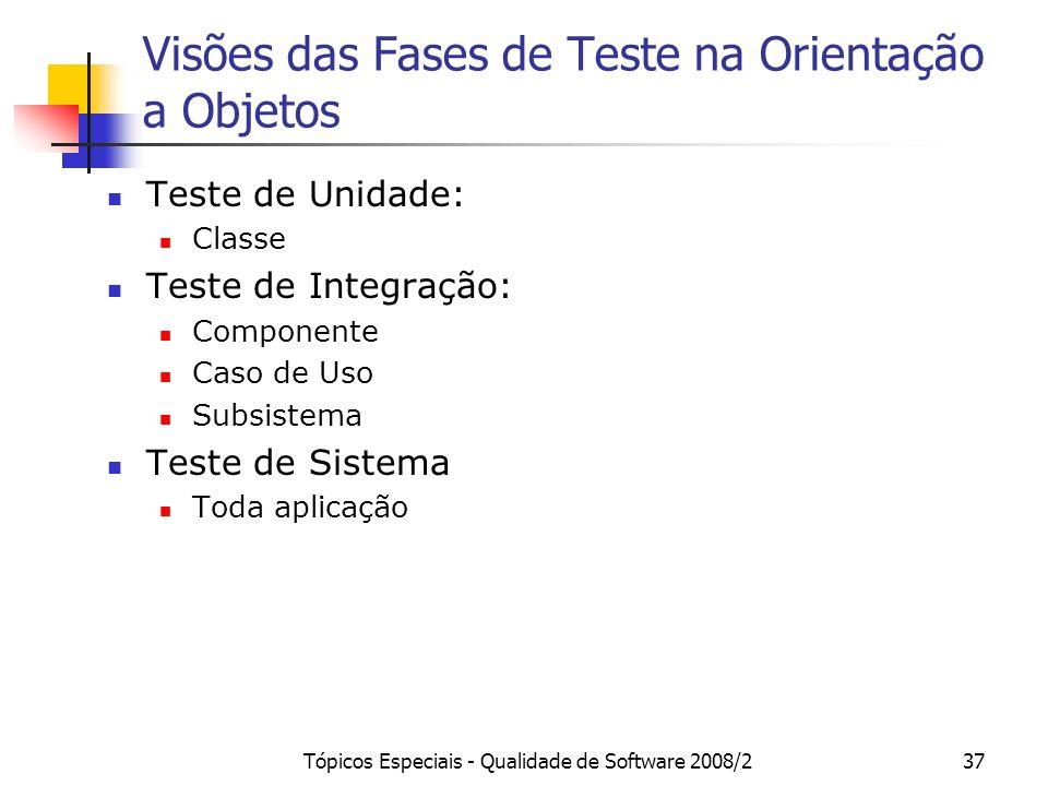 Tópicos Especiais - Qualidade de Software 2008/237 Visões das Fases de Teste na Orientação a Objetos Teste de Unidade: Classe Teste de Integração: Com