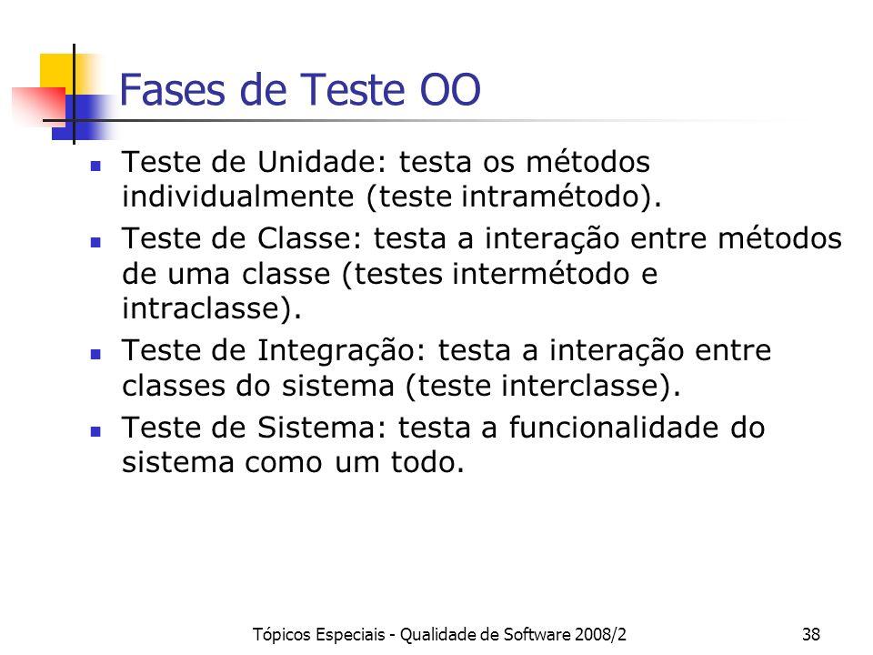 Tópicos Especiais - Qualidade de Software 2008/238 Fases de Teste OO Teste de Unidade: testa os métodos individualmente (teste intramétodo). Teste de