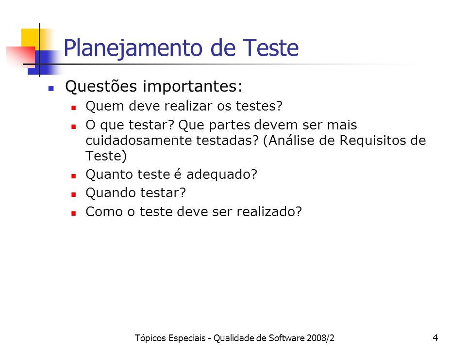 Tópicos Especiais - Qualidade de Software 2008/235 Visões das Fases de Teste na Orientação a Objetos Teste de Unidade: Método Teste de Integração: Classe Componente Caso de Uso Subsistema Teste de Sistema Toda aplicação