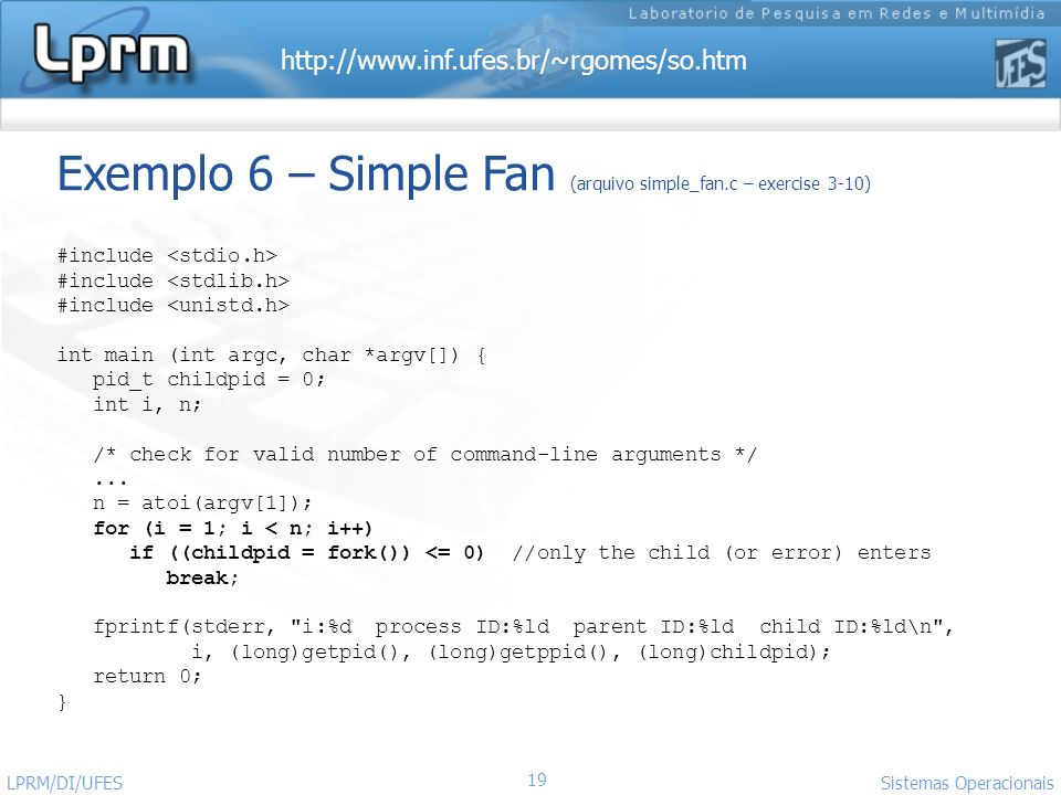 http://www.inf.ufes.br/~rgomes/so.htm Sistemas Operacionais LPRM/DI/UFES 19 Exemplo 6 – Simple Fan (arquivo simple_fan.c – exercise 3-10) #include int