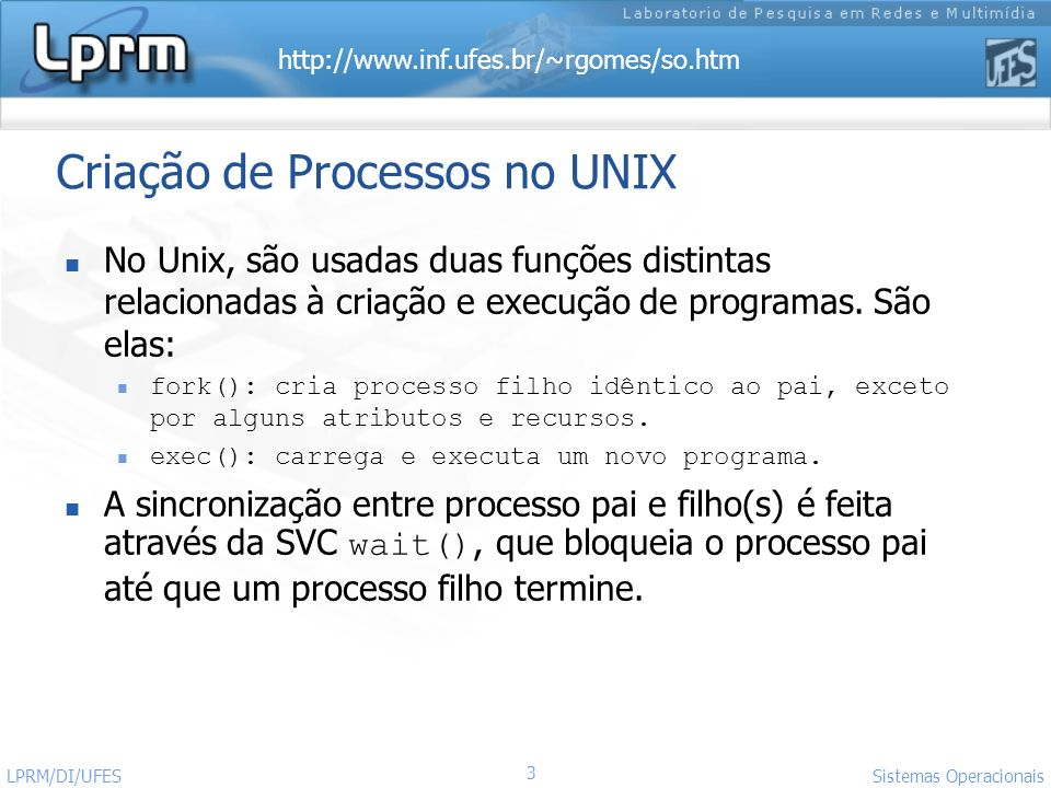 http://www.inf.ufes.br/~rgomes/so.htm Sistemas Operacionais LPRM/DI/UFES 14 Exemplo 1 - Exibindo PID s (arquivo output_IDs.c - exemplo3-2) #include int main (void) { printf( I am process %ld\n , (long)getpid()); printf( My parent is %ld\n , (long)getppid()); printf( My real user ID is %5ld\n , (long)getuid()); printf( My effective user ID is %5ld\n , (long)geteuid()); printf( My real group ID is %5ld\n , (long)getgid()); printf( My effective group ID is %5ld\n , (long)getegid()); return 0; }