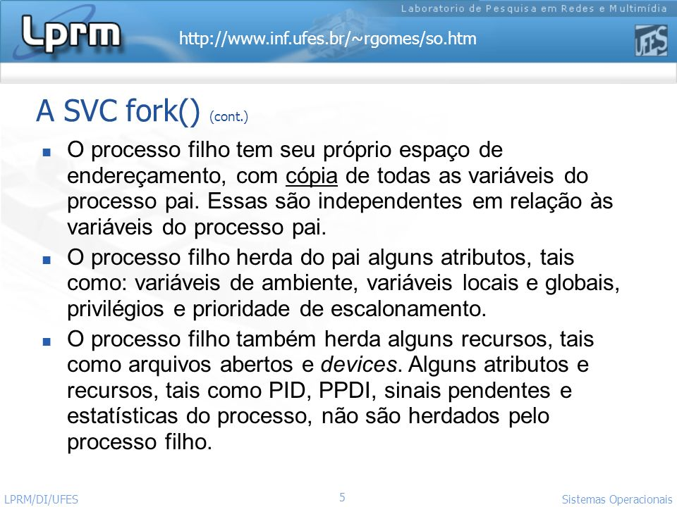 http://www.inf.ufes.br/~rgomes/so.htm Sistemas Operacionais LPRM/DI/UFES A SVC fork() (cont).