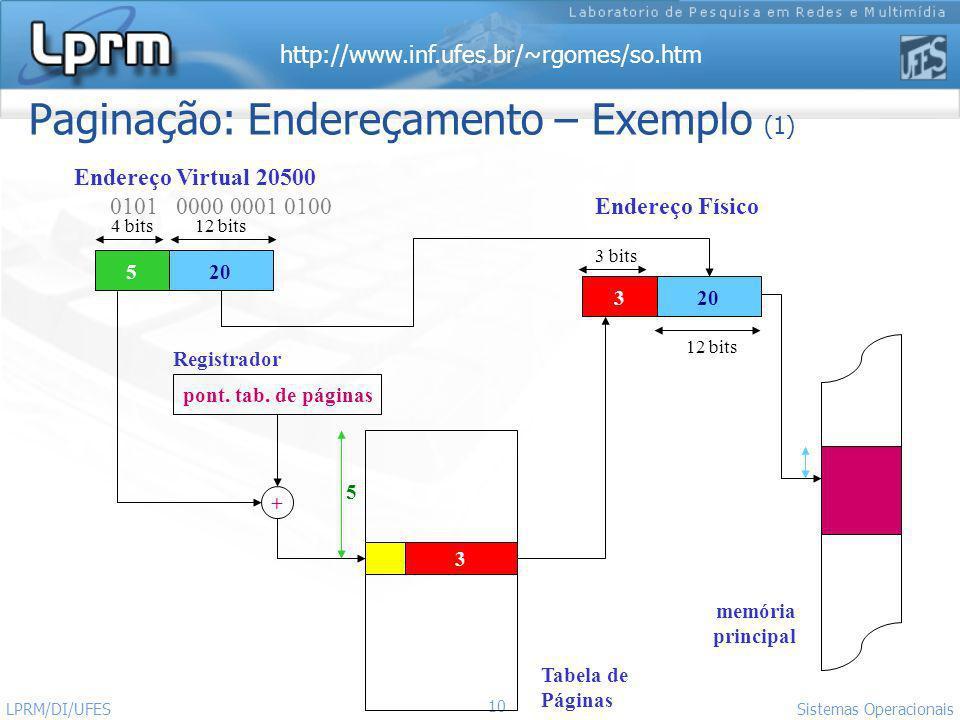 http://www.inf.ufes.br/~rgomes/so.htm 10 Sistemas Operacionais LPRM/DI/UFES Paginação: Endereçamento – Exemplo (1) pont. tab. de páginas 520 3 3 + End