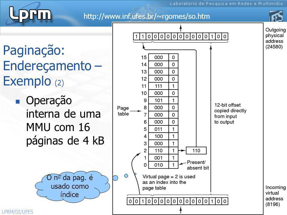 http://www.inf.ufes.br/~rgomes/so.htm 11 Sistemas Operacionais LPRM/DI/UFES Paginação: Endereçamento – Exemplo (2) Operação interna de uma MMU com 16