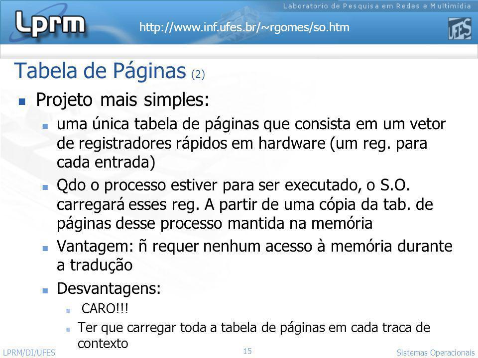 http://www.inf.ufes.br/~rgomes/so.htm 15 Sistemas Operacionais LPRM/DI/UFES Tabela de Páginas (2) Projeto mais simples: uma única tabela de páginas qu