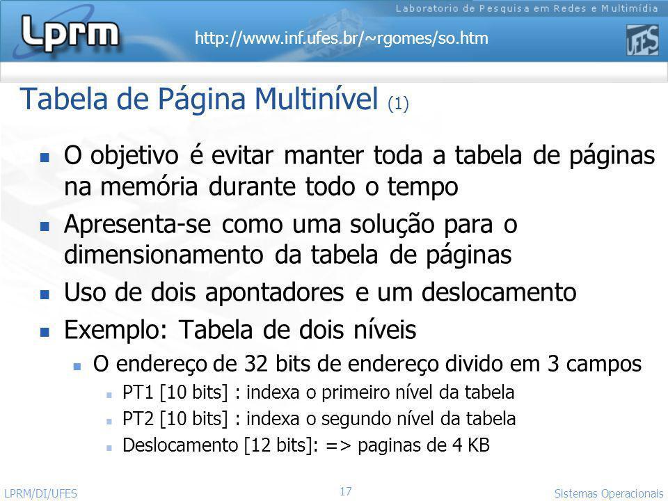 http://www.inf.ufes.br/~rgomes/so.htm 17 Sistemas Operacionais LPRM/DI/UFES Tabela de Página Multinível (1) O objetivo é evitar manter toda a tabela d