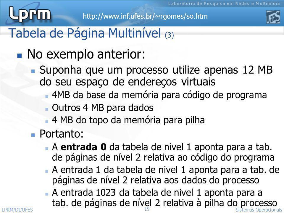 http://www.inf.ufes.br/~rgomes/so.htm 19 Sistemas Operacionais LPRM/DI/UFES Tabela de Página Multinível (3) No exemplo anterior: Suponha que um proces