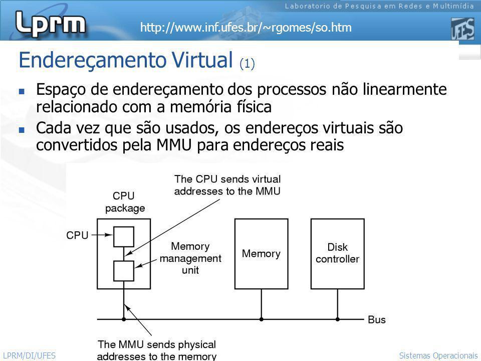 http://www.inf.ufes.br/~rgomes/so.htm 2 Sistemas Operacionais LPRM/DI/UFES Endereçamento Virtual (1) Espaço de endereçamento dos processos não linearm