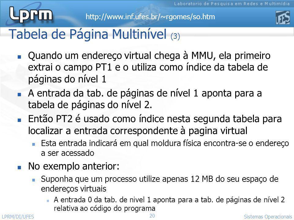 http://www.inf.ufes.br/~rgomes/so.htm 20 Sistemas Operacionais LPRM/DI/UFES Tabela de Página Multinível (3) Quando um endereço virtual chega à MMU, el