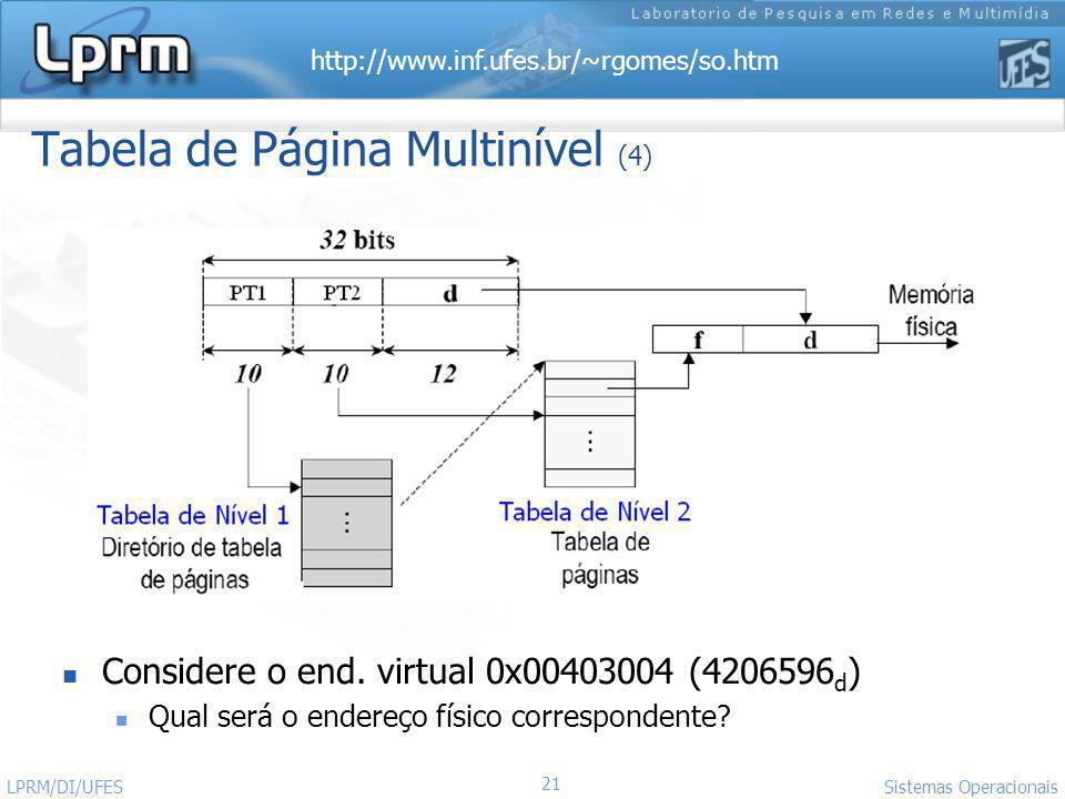http://www.inf.ufes.br/~rgomes/so.htm 21 Sistemas Operacionais LPRM/DI/UFES Tabela de Página Multinível (4) Considere o end. virtual 0x00403004 (42065