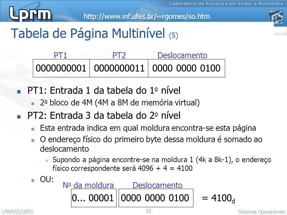http://www.inf.ufes.br/~rgomes/so.htm 22 Sistemas Operacionais LPRM/DI/UFES Tabela de Página Multinível (5) PT1: Entrada 1 da tabela do 1 o nível 2 o