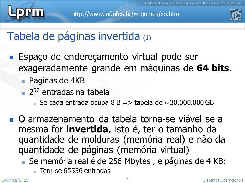 http://www.inf.ufes.br/~rgomes/so.htm 31 Sistemas Operacionais LPRM/DI/UFES Tabela de páginas invertida (1) Espaço de endereçamento virtual pode ser e