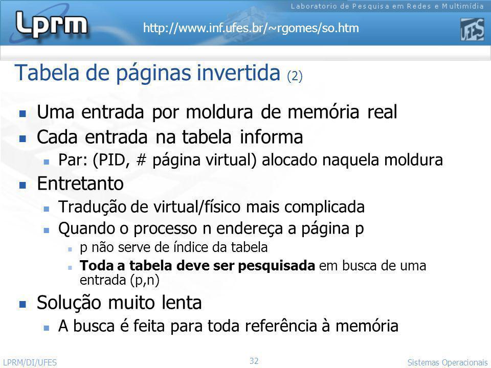 http://www.inf.ufes.br/~rgomes/so.htm 32 Sistemas Operacionais LPRM/DI/UFES Tabela de páginas invertida (2) Uma entrada por moldura de memória real Ca