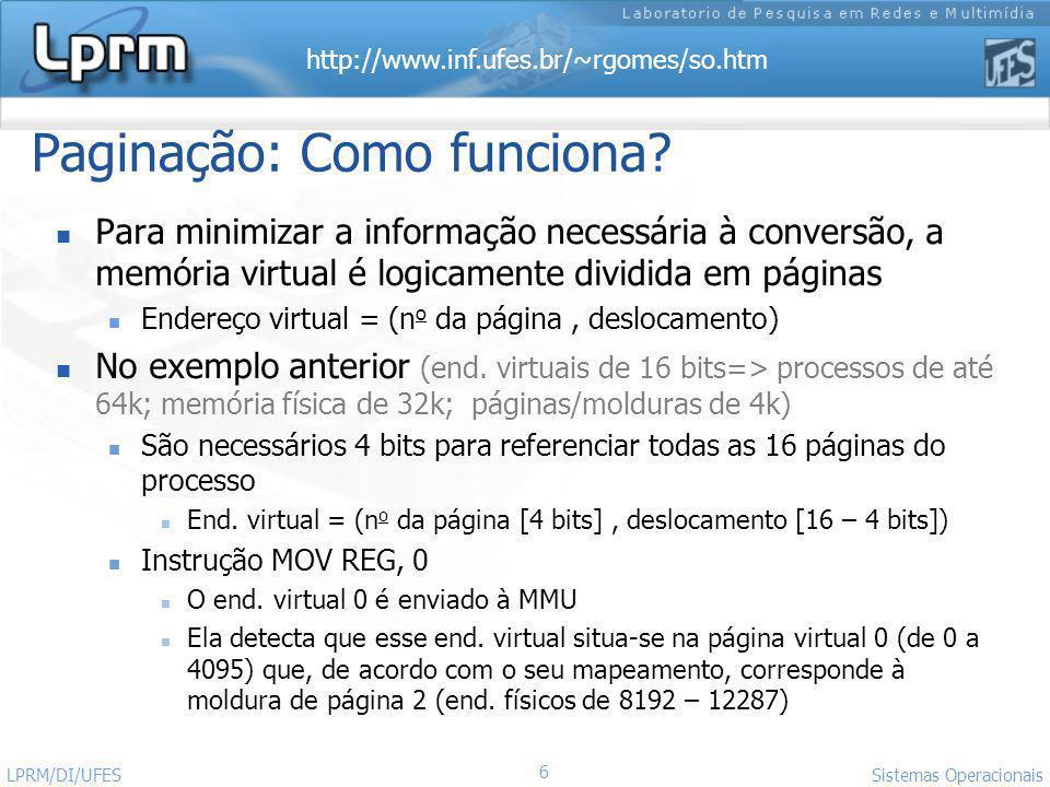 http://www.inf.ufes.br/~rgomes/so.htm 27 Sistemas Operacionais LPRM/DI/UFES deslocam.