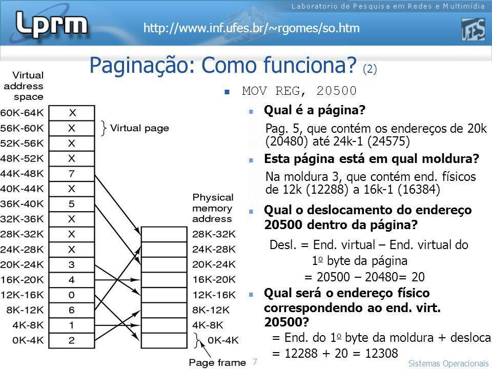 http://www.inf.ufes.br/~rgomes/so.htm 7 Sistemas Operacionais LPRM/DI/UFES Paginação: Como funciona? (2) MOV REG, 20500 Qual é a página? Esta página e