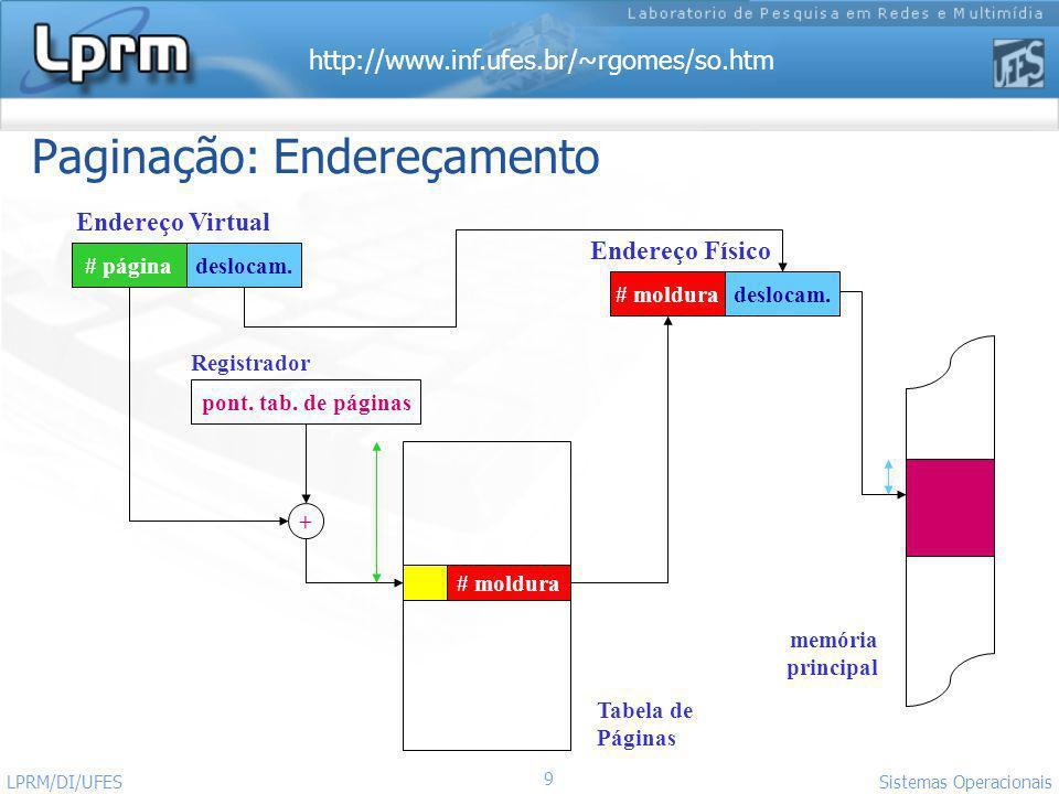http://www.inf.ufes.br/~rgomes/so.htm 9 Sistemas Operacionais LPRM/DI/UFES Paginação: Endereçamento pont. tab. de páginas # páginadeslocam. # moldurad