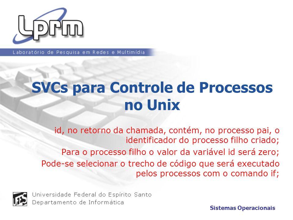 SVCs para Controle de Processos no Unix id, no retorno da chamada, contém, no processo pai, o identificador do processo filho criado; Para o processo