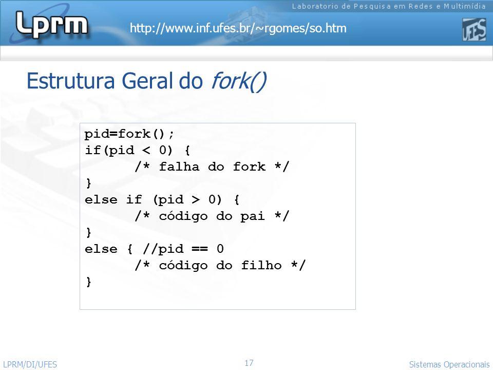 http://www.inf.ufes.br/~rgomes/so.htm Sistemas Operacionais LPRM/DI/UFES 17 Estrutura Geral do fork() pid=fork(); if(pid < 0) { /* falha do fork */ }