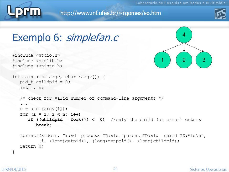 http://www.inf.ufes.br/~rgomes/so.htm Sistemas Operacionais LPRM/DI/UFES 21 Exemplo 6: simplefan.c #include int main (int argc, char *argv[]) { pid_t