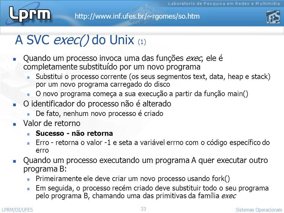 http://www.inf.ufes.br/~rgomes/so.htm Sistemas Operacionais LPRM/DI/UFES 33 A SVC exec() do Unix (1) Quando um processo invoca uma das funções exec, e