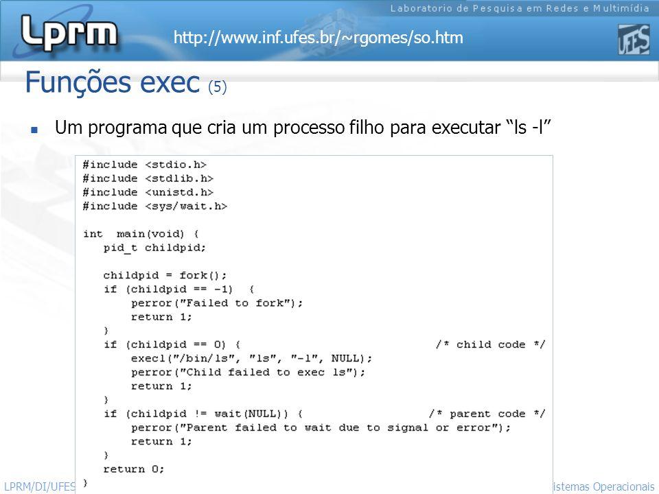 http://www.inf.ufes.br/~rgomes/so.htm Sistemas Operacionais LPRM/DI/UFES 42 Funções exec (5) Um programa que cria um processo filho para executar ls -